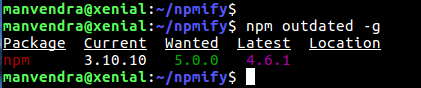 npm outdated g